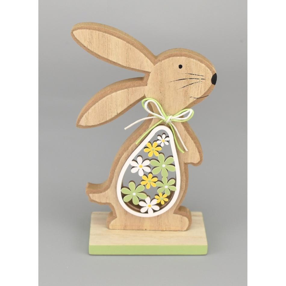 Velikonoční dřevěný zajíček Hubert zelená, 15 cm