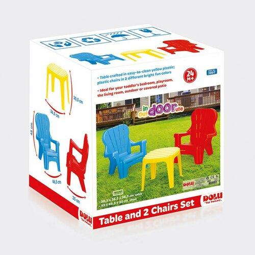 Mobilier de grădină Dolu, pentru copii, masă și 2 fotolii