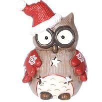 Svietnik na čajovú sviečku Christmas owl flakes, 10 x 14 cm