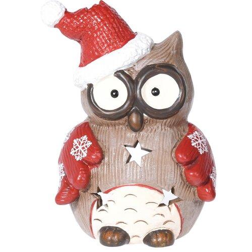 Christmas owl flakes teamécses-tartó, 10 x 14 cm
