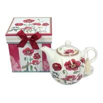 Porcelán teáskanna és csésze Pipacs, ajándékcsomagolásban