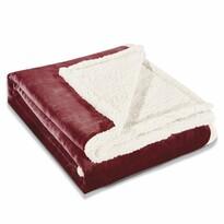 Pătură imitaţie lână DecoKing Teddy, roşu închis, 150 x 200 cm