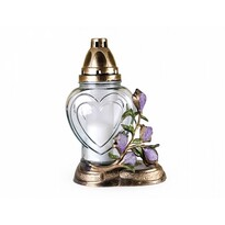 Szklany lampion z dekorem plastycznym Magnolia, złoty