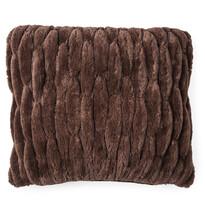 Szőrös párnahuzat varrattal barna, 45 x 45 cm