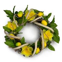 Wielkanocny wieniec z rattanu Narcis, 22 cm
