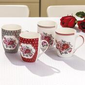 4dílná sada hrnků Romantic Rose 340 ml