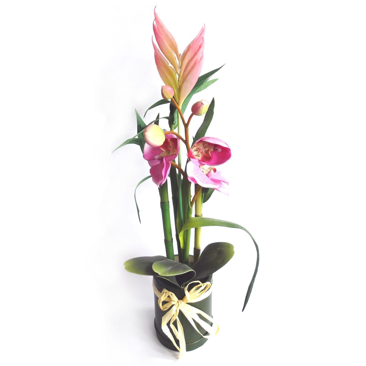Umelá kytica orchidea, bambus