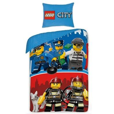 Detské bavlnené obliečky Lego City, 140 x 200 cm, 70 x 90 cm