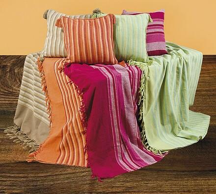 Přehoz na postel s třásněmi, zelená, 150 x 200 cm, 2x 40 x 40 cm