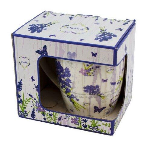 Porcelánový hrnček so sitkom a viečkom Levanduľa 400 ml v darčekovej krabičke