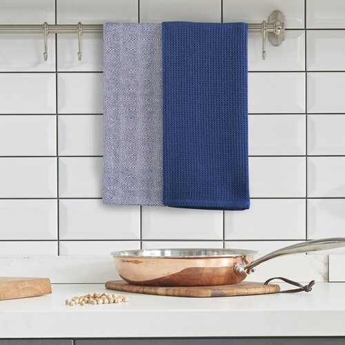 DecoKing Kuchyňská utěrka Louie modrá, 50 x 70 cm, sada 3 ks