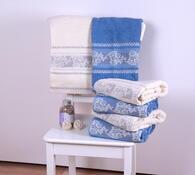 Výhodná sada: 4 ks ručníků, 2 ks osušek, bílá + modrá