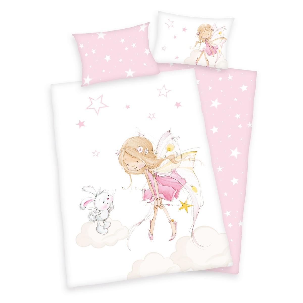 Bawełniana pościel dziecięca do łóżeczka Rusałka i króliczek, 100 x 135 cm, 40 x 60 cm