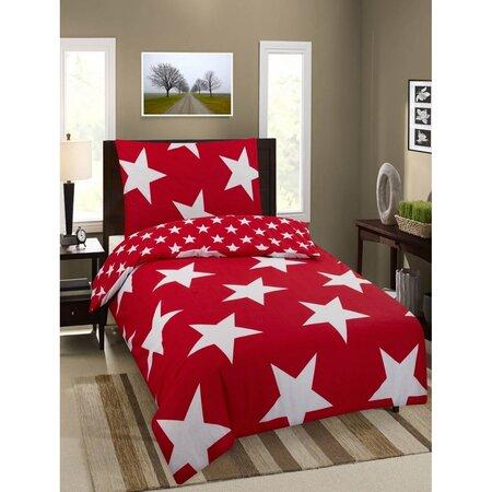 Premium Stars pamut ágynemű, piros, 140 x 200 cm, 70 x 90 cm