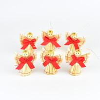 Szalmafigurák karácsonyi dísz készlet 5,5 cm, 6 db