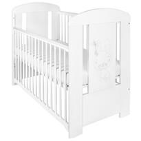 New Baby Dětská postýlka se stahovací bočnicí Králíček bílá , 123 x 65 x 98 cm