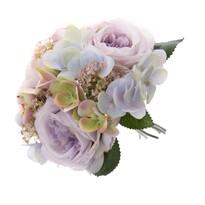 Buchet artificial de trandafiri și hortensii Olivia, 28 cm