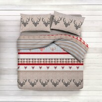 Gipetex Vánoční lanelové povlečení Cervo, 140 x 220 cm, 70 x 90 cm
