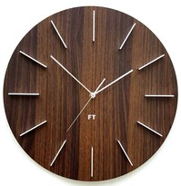 Future Time FT2010WE Round dark natural brown Designerski zegar ścienny, 40 cm