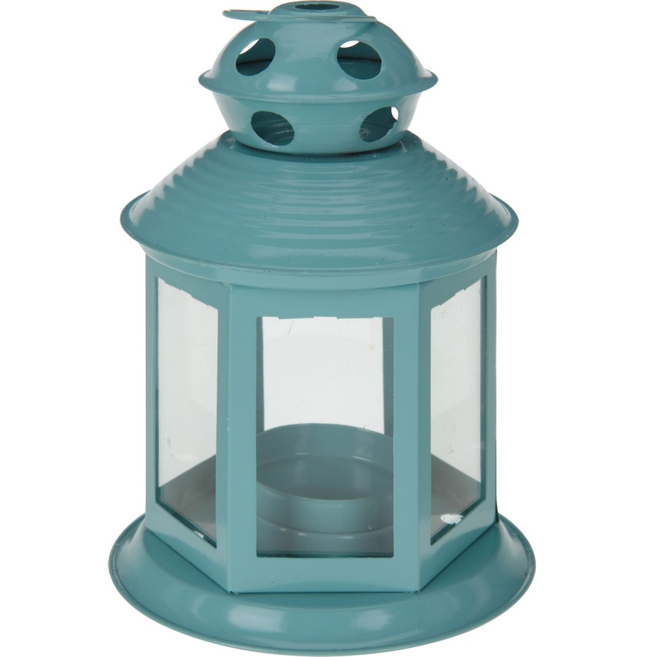 Koopman Lucerna na čajovou svíčku Colorido, světle modrá
