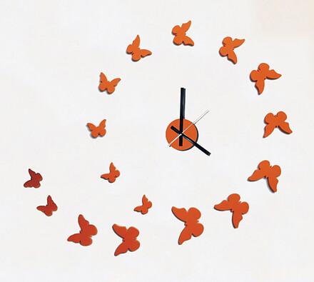 Nástěnné hodiny samolepicí motýli, oranžová, 50 x 60 cm