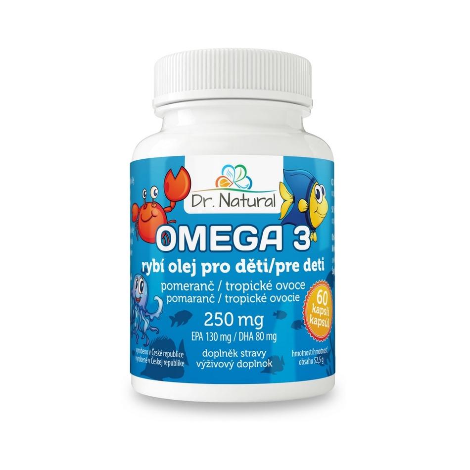 Dr.Natural Omega 3 Rybí olej pre deti 250 mg, 60 cps.
