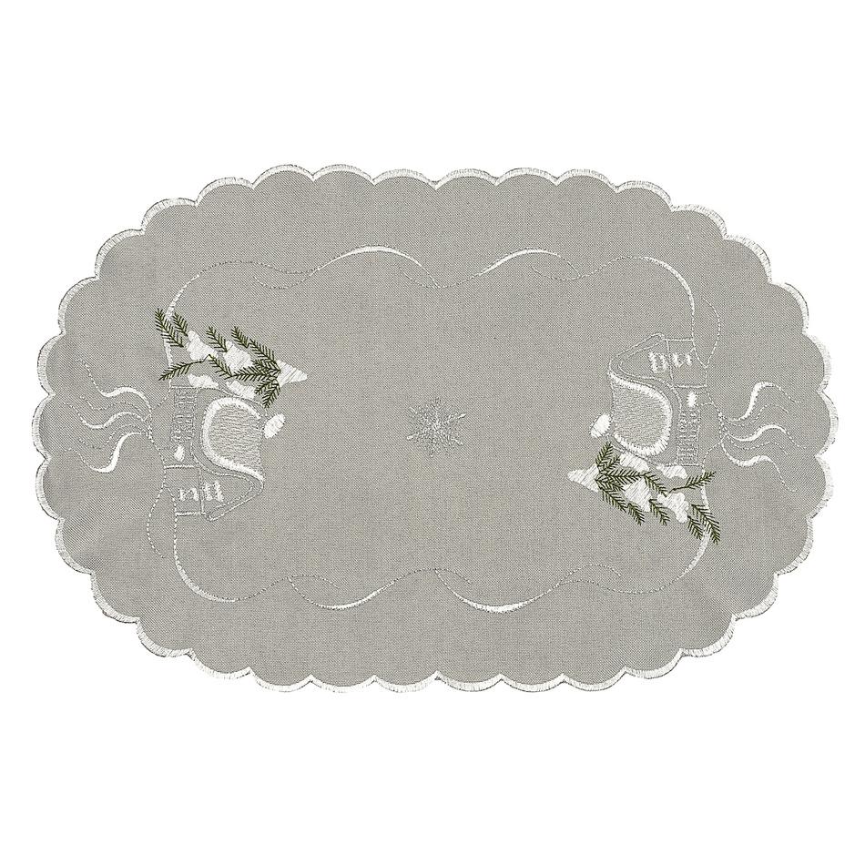 Forbyt Vianočný obrus chalúpky sivá, 30 x 45 cm