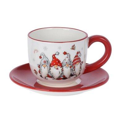 Törpés kerámia csésze csészealjjal, 250 ml, piros