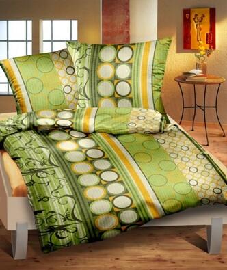 Krepové povlečení Nikol zelená, 140 x 220 cm, 70 x 90 cm