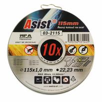 Asist 03-2115 komplet tarczy tnących stal/INOX, 10 szt. 115 x 1 mm