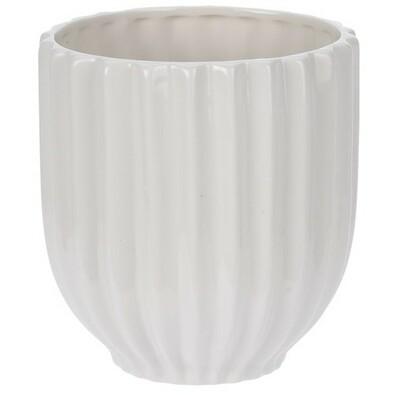 Kerámia virágcserép Stripes, fehér