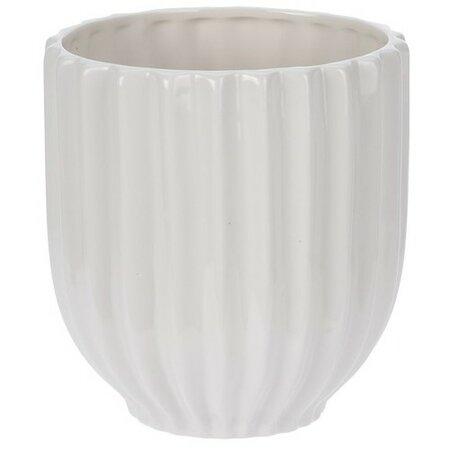 Keramický květináč Stripes, bílá