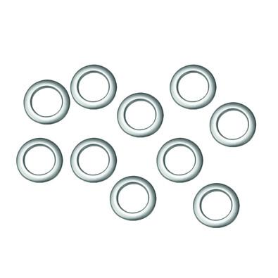 Kroužky na závěsy matná stříbrná, sada 10 ks, 2,8/4,6 cm