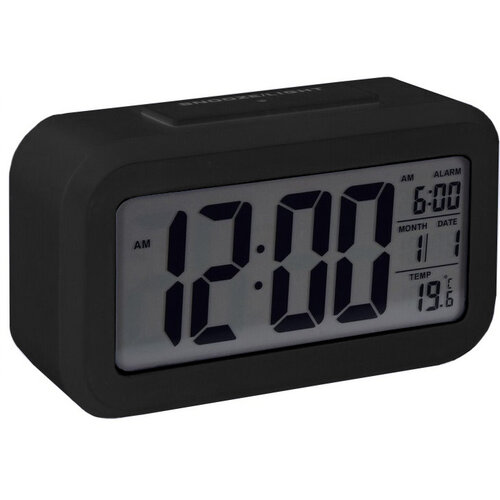 Stanley digitális ébresztőóra, 14 x 7 cm, fekete