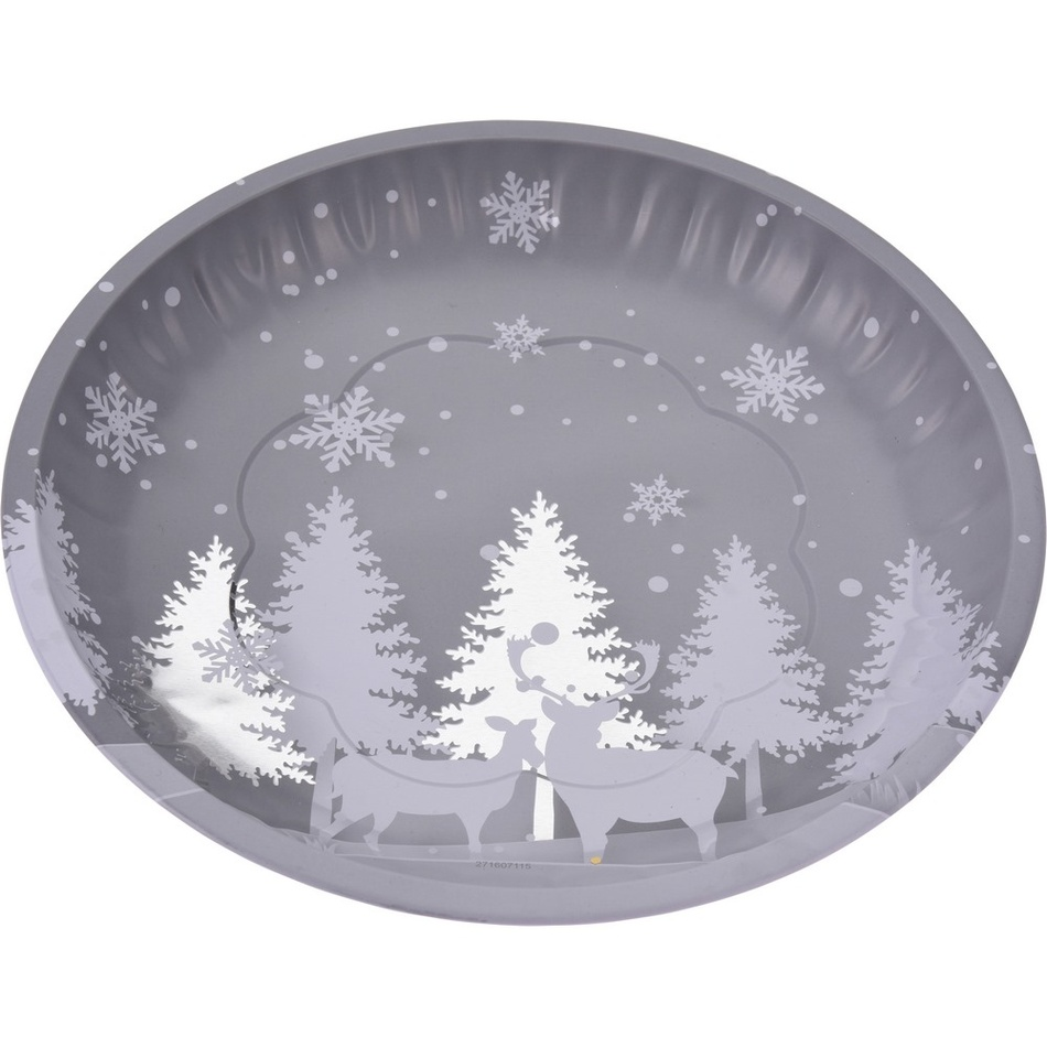 Koopman Plechový servírovací podnos Vánoce, 25,5 cm