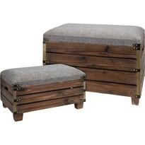Sada drevených taburetiek Madera, 2 ks