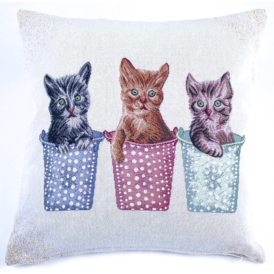 BO-MA Trading Vánoční povlak na polštářek 3 kočky, 45 x 45 cm