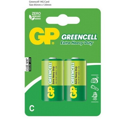 Alkalické baterie, 2 ks, 14G R14 Blistr, GP Greenc