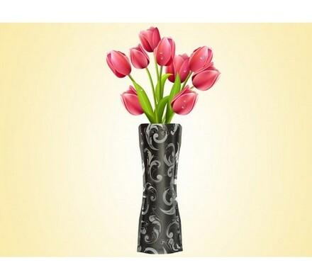 Váza skládací černá, černá, 19 x 28 cm