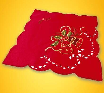 Ubrus vyšívaný, červená, 2 ks 35 x 35 cm