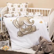 Lenjerie de pat copii, din bumbac, 4HomeElefănței, 100 x 135 cm, 40 x 60 cm