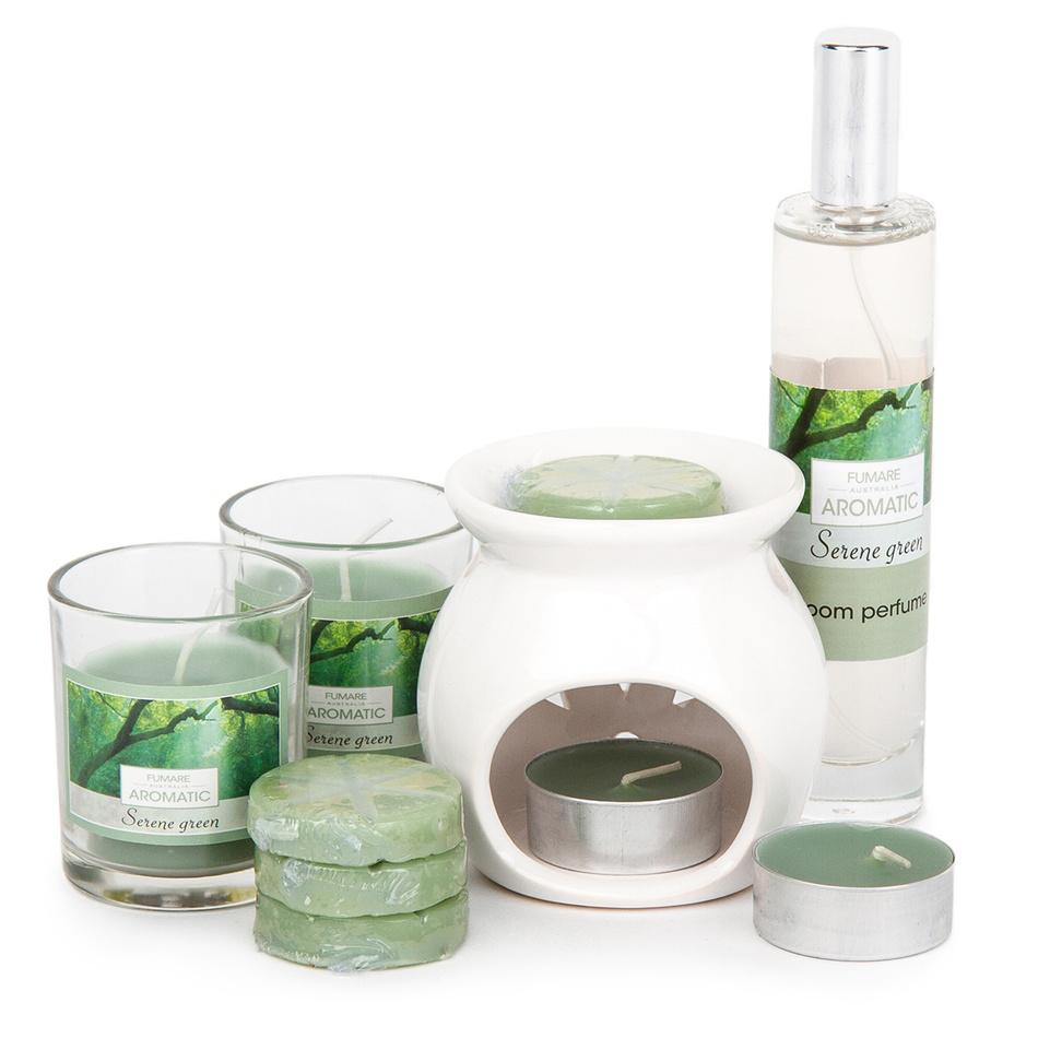 Sada svíček a aromalampy Aromatico Serene Green, 10 ks