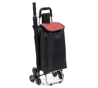 Nákupní taška na kolečkách, černá + vínová