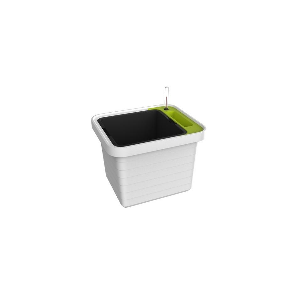 Plastia Samozavlažovací truhlík Berberis UNO, bílá + zelený příčník