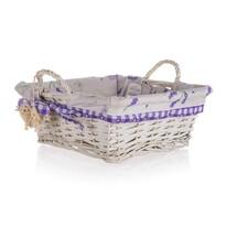 Coș cu mânere împletit Home Decor Lavender, 28 x 28 x 11 cm