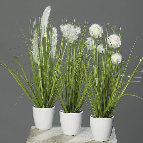 Umelá kvitnúca tráva Ines biela, 36 cm