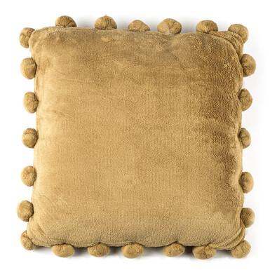 Polštářek Pompon béžová, 45 x 45 cm