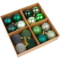 Sada vánočních ozdob Melide zelená, 16 ks, pr. 4 cm