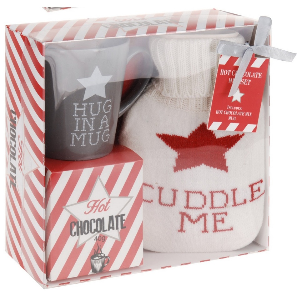Darčeková sada hrnčeka, horúcej čokolády a fľaše s návlekom Cuddle me, sivá