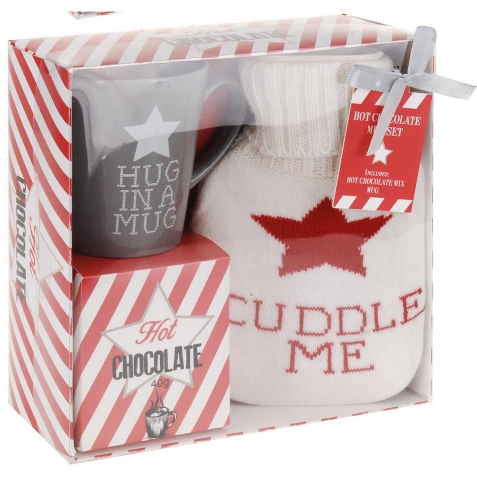 Dárková sada hrnku, horké čokolády a láhve s návlekem Cuddle me, šedá
